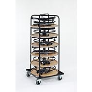 Komplettangebot 6 Stehtische/Bistrotische, ø 700 mm, beige marmoriert + Rollbehälter