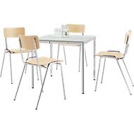 Komplettangebot Konferenztisch + 4 Stapelstühle CR, Tisch 800 x 800 mm, lichtgrau