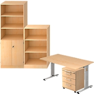 Komplettangebot Schreibtisch/Container/Regalschrank/Regal ULM, Ahorn-Dekor