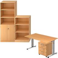 Komplettangebot Schreibtisch/Container/Regalschrank/Regal ULM, Buche-Dekor