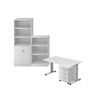 Komplettangebot Schreibtisch/Container/Regalschrank/Regal ULM, lichtgrau