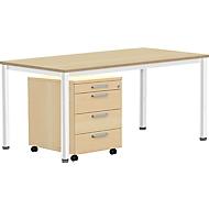 Komplettset BEXXSTAR, Schreibtisch 1600 mm breit Rollcontainer, Rundrohrfuß, Buche-Dekor