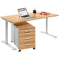 Komplettset Modena Flex, Schreibtisch B 1600 mm, höhenverstellbar + Rollcontainer, Buche-Dekor