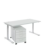 Komplettset Modena Flex, Schreibtisch B 1600 mm, höhenverstellbar + Rollcontainer, lichtgrau