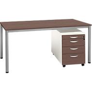 Komplettset NEVADA, Schreibtisch B 1600 mm, Rundrohrfuß + Rollcontainer 4 Schübe, Lärche grau/Lärche grau-weiß