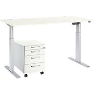 Komplettset Schreibtisch und Rollcontainer ERGO-T, einstufig höhenverstellbar, Tisch B 1600 mm,