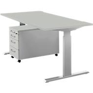 Komplettset Schreibtisch und Rolly ERGO-T, manuell höheneinstellbar durch Imbusschlüssel, Tisch B 1600 mm, lichtgrau