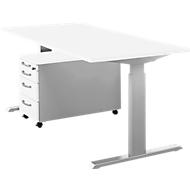 Komplettset Schreibtisch und Rolly ERGO-T, manuell höheneinstellbar durch Imbusschlüssel, Tisch B 1600 mm, weiß