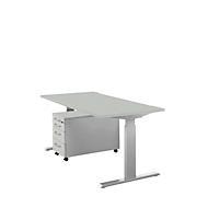 Komplettset Schreibtisch und Rolly ERGO-T, manuell höheneinstellbar, Tisch B 1600 mm, lichtgrau/weißalu