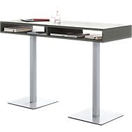 Konferenz-Stehtisch BOX, bis 6 Personen, Rechteck, Standfuß, B 1600 x T 600 x H 1050 mm, graphit/alusilber