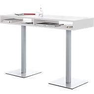 Konferenz-Stehtisch BOX, bis 6 Personen, Rechteck, Standfuß, B 1600 x T 600 x H 1050 mm, weiß/alusilber