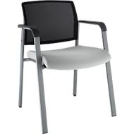 Konferenzstuhl schwarz/grau, Vierfuß, stapelbar bis zu 4 Stück