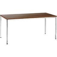 Konferenztisch, bis 6 Personen, Rechteck, 4-Fuß Quadratrohr, B 1600 x T 800 x H 720 mm, Walnuss/chromsilber