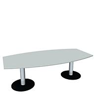 Konferenztisch, bis 8 Personen, Boot, Tellerfuß, B 2400 x T 800 x H 720 mm, lichtgrau/weißaluminium