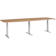 Konferenztisch, elektrisch höhenverstellbar, Tonne, T-Fuß, B 2800 x T 800/1000 x H 640-1300 mmm, Kirsch-Romana/weißalu