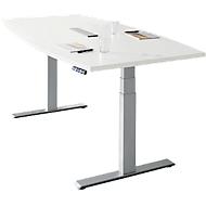 Konferenztisch MODENA FLEX, elektr. höhenverstellbar, Bootsform, T-Fuß, B 2000 mm + Technikeinbau, weiß