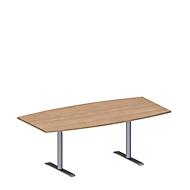 Konferenztisch MODENA FLEX, höhenverstellbar, Boots-Form, T-Fuß-Rundrohr, B 2000 x T 1000/800 mm, Kirsche Romana-Dekor