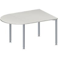 Konferenztisch MODENA FLEX, höhenverstellbar, halbovale Form, 4-Fuß-Rundrohr, B 1400 x T 1000 mm, lichtgrau