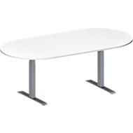 Konferenztisch MODENA FLEX, höhenverstellbar, ohne Anschlussfeld, Oval-Form, T-Fuß-Rechteckrohr, B 2000 x T 1000 mm, weiß