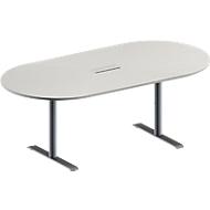 Konferenztisch MODENA FLEX, höhenverstellbar, ohne Anschlussfeld, Oval-Form, T-Fuß-Rundrohr, B 2000 x T 1000 mm, lichtgrau
