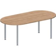 Konferenztisch MODENA FLEX, höhenverstellbar, Oval-Form, 4-Fuß-Rundrohr, 2000 x 1000 mm, Kirsche Romana-Dekor