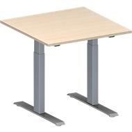 Konferenztisch MODENA FLEX, höhenverstellbar, Quadrat-Form, T-Fuß-Rechteckrohr, B 800 x T 800 mm, Ahorn-Dekor