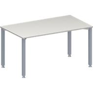 Konferenztisch MODENA FLEX, höhenverstellbar, Rechteck-Form, 4-Fuß-Quadratrohr, B 1400 x T 800 mm, lichtgrau