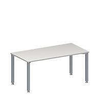 Konferenztisch MODENA FLEX, höhenverstellbar, Rechteck-Form, 4-Fuß-Quadratrohr, B 1600 x T 800 mm, ohne Anschlussfeld, lichtgrau