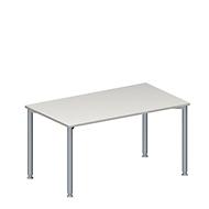 Konferenztisch MODENA FLEX, höhenverstellbar, Rechteck-Form, 4-Fuß-Rundrohr, B 1400 x T 800 mm, lichtgrau
