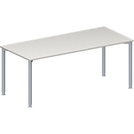 Konferenztisch MODENA FLEX, höhenverstellbar, Rechteck-Form, 4-Fuß-Rundrohr, B 1800 x T 800 mm, lichtgrau