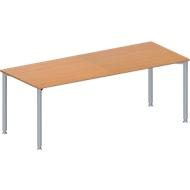 Konferenztisch MODENA FLEX, höhenverstellbar, Rechteck-Form, 4-Fuß-Rundrohr, B 2000 x T 800 mm, Buche-Dekor