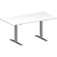 Konferenztisch MODENA FLEX, höhenverstellbar, Rechteck-Form, T-Fuß Rechteckrohr, B 1600 x T 800 mm, weiß