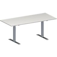 Konferenztisch MODENA FLEX, höhenverstellbar, Rechteck-Form, T-Fuß-Rechteckrohr, B 1800 x T 800 mm, lichtgrau