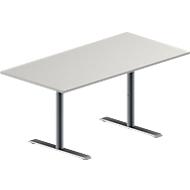 Konferenztisch MODENA FLEX, höhenverstellbar, Rechteck-Form, T-Fuß Rundrohr, B 1600 x T 800 mm, lichtgrau
