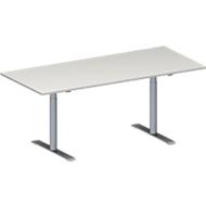 Konferenztisch MODENA FLEX, höhenverstellbar, Rechteck-Form, T-Fuß-Rundrohr, B 1800 x T 800 mm, lichtgrau