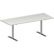Konferenztisch MODENA FLEX, höhenverstellbar, Rechteck-Form, T-Fuß Rundrohr, B 2000 x T 800 mm, lichtgrau