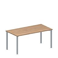 Konferenztisch MODENA FLEX, höhenverstellbar, rechteckig, 4-Fuß-Rundrohr, B 1600 x T 800 mm, ohne Anschlussfeld, Kirsche-Romana-Dekor