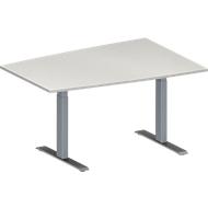 Konferenztisch MODENA FLEX, höhenverstellbar, Tonnen-Form, T-Fuß-Rechteckrohr, B 1400 x T 1000 mm, lichtgrau