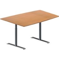 Konferenztisch MODENA FLEX, höhenverstellbar, Tonnen-Form, T-Fuß-Rundrohr, B 1400 x T 1000 mm, Buche-Dekor