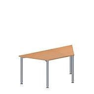 Konferenztisch MODENA FLEX, höhenverstellbar, Trapez-Form, 4-Fuß Rundrohr, B 1600 x T 800 mm, Buche-Dekor