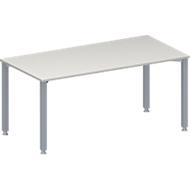 Konferenztisch MODENA FLEX, Rechteck, 4-Fuß Quadratrohr, B 1600 x T 800 x H 720-840 mm, lichtgrau/weißaluminium RAL 9006