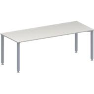 Konferenztisch MODENA FLEX, Rechteck, 4-Fuß Quadratrohr, B 2000 x T 800 x H 720-840 mm, lichtgrau/weißaluminium RAL 9006