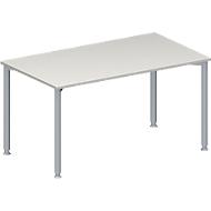 Konferenztisch MODENA FLEX, Rechteck, 4-Fuß Rundrohr, B 1400 x T 800 x H 720-840 mm, lichtgrau/weißaluminium RAL 9006