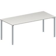 Konferenztisch MODENA FLEX, Rechteck, 4-Fuß Rundrohr, B 1800 x T 800 x H 720-840 mm, lichtgrau/weißaluminium RAL 9006