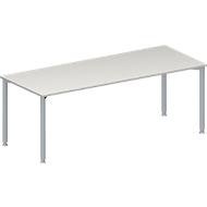 Konferenztisch MODENA FLEX, Rechteck, 4-Fuß Rundrohr, B 2000 x T 800 x H 720-840 mm, lichtgrau/weißaluminium RAL 9006