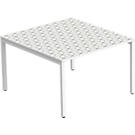 Konferenztisch Paperflow COLOR, Rechteck-Form, 4-Fuß-Quadratrohr, B 1200 x T 1260 x H 750 mm, desinfektionsmittelbeständig, black & white