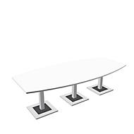 Konferenztisch Quandos Bootsform, 3teilig, B 3500 x T 1200 mm, weiß