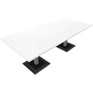 Konferenztisch QUANDOS BOX, Rechteck, Rechteck, B 2200 x T 1000 x H 720 - 820 mm, weiß