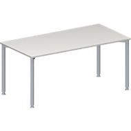Konferenztisch, Rechteck, 4-Fuß Rundrohr, B 1600 x T 800 x H 720-840 mm, lichtgrau/weißaluminium RAL 9006