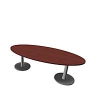 Konferenztisch X-TIME-WORK, oval, 2400 x 1100 x 740 mm, Wenge-Dekor/alu